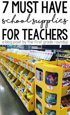 New school supplies aren't just for kids! Teachers love a cart full of fresh school supplies. Read my list of must have school supplies for teachers!