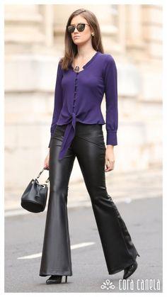 Elas Usam Cora Canela – Cora Canela Winter Blouses, Leather Pants Outfit, Stylish Work Outfits, Women's Fashion Dresses, Ideias Fashion, Womens Fashion, Site Wordpress, Clothes, Trousers Women