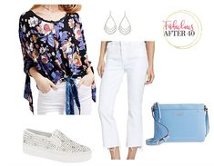 Cropped white jeans for women over 40 The Effective Pictures We Offer You About Women's Jeans straight A quality picture can tell you many things. You can find the mo Simple Outfits, Casual Outfits, White Outfits, Dressing Your Body Type, Womens White Jeans, Frayed Hem Jeans, Women's Jeans, Curvy Jeans, Fashion For Women Over 40