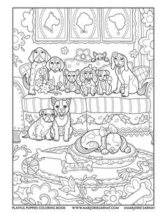 Pups on a Couch : Playful Puppies Coloring Book by Marjorie Sarnat