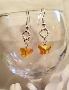 Crystal butterfly earrings handmade earringsbutterfly Orange Earrings, Dangly Earrings, Drop Earrings, Crystal Jewelry, Crystal Earrings, Earrings Handmade, Handmade Jewelry, Gifts For Women, Gifts For Her