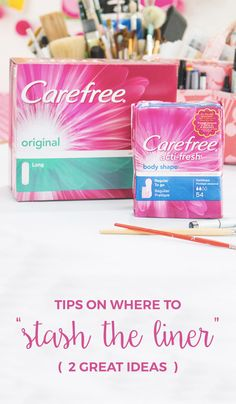 """Between a busy work schedule and daily responsibilities, it's never a bad idea to plan ahead for life's unexpected surprises. These clever tips on where to """"stash the pad"""" will give you two great ideas on where you can discreetly hide your Carefree® liner just in case of a female emergency!"""