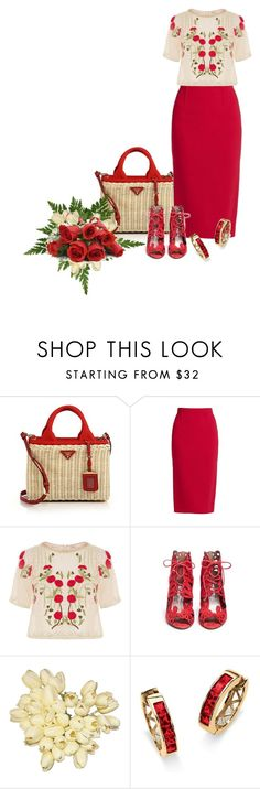 """Basketweave bag and matching shoes"" by sensitiveheart ❤ liked on Polyvore featuring Prada, Roland Mouret, Temperley London, Reebok and Palm Beach Jewelry"