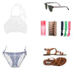 """Halter Bikini"" by psherminwallabieway ❤ liked on Polyvore featuring Mikoh, Calypso Private Label, Steve Madden, Ray-Ban, Victoria's Secret, Splendid, Urban Decay, bikini and halteroutfits"