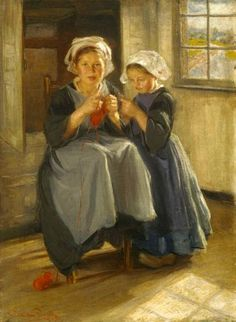 """The Knitting Lesson"", William Henry Funk (1866 - 1949), German-born American   /   iaac"
