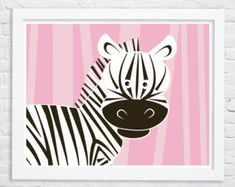 Cebra-Pink vivero original lámina perfecto para la habitación de una niña. Hace un gran regalo para baby shower, cumpleaños y favores.    Tamaños: 8