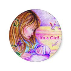 It's a Girl! Classic Round Sticker - Great to use as seals for baby girl birth announcements! #stickers #round #stationary #baby #mom #carouseldreams #moondreamsmusic
