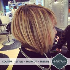 What a beautiful colour & hairstyle! This was produced in collaboration by Dimitra & Lexi! Come and meet them for a consult and new beauty make-over! They can't wait to make you shine. #deauville #spa #coiffure #montreal #stylists #hairsalon #beauty salon #colortechnician #blonde #highlights #streaks #lowlights