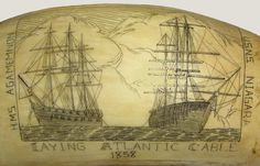 Scrimshaw (detail) of The HMS Agamemnon and USNS Niagara laying Atlantic cable in 1858, from the History of the Atlantic Cable & Submarine Telegraphy