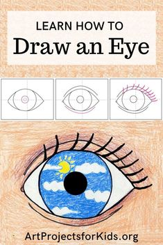 How to Draw an Eye · Art Projects for Kids Op Art Lessons, Art Lessons Elementary, Drawing Lessons, Art Drawings For Kids, Drawing For Kids, Drawing An Eye, Easy Art Projects, Projects For Kids, You Draw