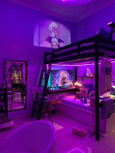 Indie Room Decor, Cute Bedroom Decor, Room Design Bedroom, Room Ideas Bedroom, Wall Decor, Chill Room, Cozy Room, Chambre Indie, Neon Bedroom
