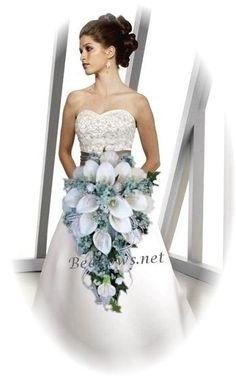 cascading calla lily bouquet with rhinestone | Pool Blue Rose Calla Lily Bridal Cascading Bridal ... | The Blue Wedd ...