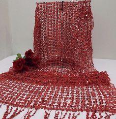 "$17.99   Shawl Scarf Wrap Red Sequin Floral Boarder Fringe Ends 62"""