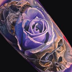 Purple rose and skull#tattoo. | via tattooties.com