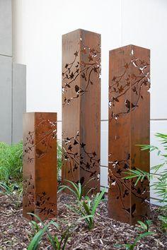Outdoor Metal Art Tower Light Summer Branch Garden Sculpture Made in Australia - Modern Backyard Lighting, Outdoor Lighting, Lighting Ideas, Lighting Logo, Tree Lighting, Lighting Design, Metal Tree Wall Art, Metal Art, Wood Wall