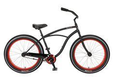 Baja Cruz - beach cruiser single-speed bicycle in black/red