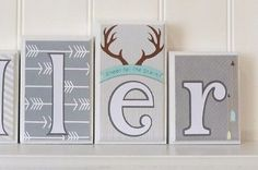 Boy Name Letter Blocks, Arrows, Antlers, Baby Decor, Routed Edge, custom letters