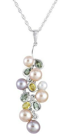 14kt White Gold Pearl, Yellow and Blue Sapphire Pendant with 3 Diamonds is available from jewelbasket.com for ...