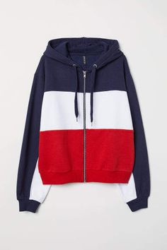 Jacket in sweatshirt fabric with a lined drawstring hood and zip down the front. Dropped shoulders, long, wide sleeves and ribbing at the cuffs and hem. Dark Blue Color, Top Designer Brands, Hooded Jacket, Hoods, Branding Design, Sweatshirts, Sleeves, Sweaters, Jackets