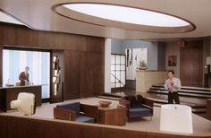 Ewan's mod bachelor pad in Down with Love Mad Men Interior Design, Mid-century Interior, Dream Home Design, My Dream Home, House Design, Down With Love, Small Apartment Design, Studio Apartment, Apartment Ideas