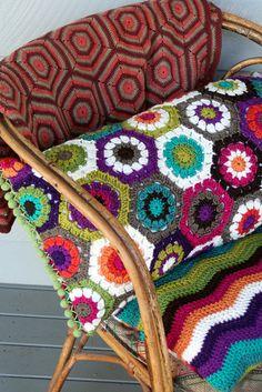 """Crochet""""Hexagon Pillow"""" by rettgrayson Crochet Home, Love Crochet, Beautiful Crochet, Crochet Crafts, Crochet Yarn, Crochet Projects, Crochet Flower, Crochet Cushions, Crochet Pillow"""