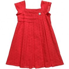 Red Cotton Broderie Anglaise Dress