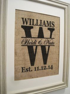 Burlap Wedding Gift,Burlap Wedding,Burlap Monogram,Burlap Print,Burlap,Print,Burlap Art,Save the Date,Burlap Est. Date,Burlap,Burlap Initial on Etsy, $21.00