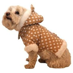 Pet Life Polka-Dot Couture Bow Pet Hoodie Sweater Brown Polka - HD3BRXS