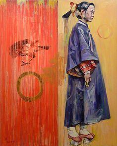 """Platform Shoes Painting: Hung Liu, 48x60"""", oil"""