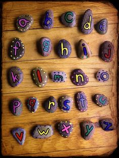 Alphabet Stones Preschool Montessori Letters. / Waldorf Toy Pr school graduation Gift Rocks