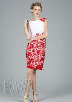 Chinese Style red lace printing cocktail dress