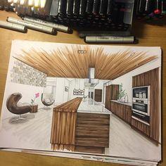 Interior Architecture Drawing, Interior Design Renderings, Drawing Interior, Interior Rendering, Interior Sketch, Interior Design Tips, Exterior Design, Interior And Exterior, Architecture Design