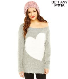 Fuzzy Heart Sweater from Bethany Mota collection at Aeropostale
