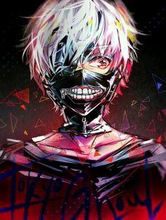 Kaneki Ken | White hair | Anime | Boy | Tokyo Ghoul | Blood | Cute | Dark | Mask