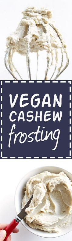 Vegan Cashew Frosting - Made with wholesome ingredients: raw cashews, coconut oil, vanilla, honey or maple syrup. Rich, fluffy, and delicious. This frosting is perfect for spreading on cakes, cookies, muffins, cupcakes etc! So Yum! This recipe is EASY to make! Vegan/Gluten Free/Refined Sugar Free | http://robustrecipes.com
