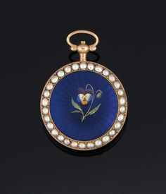 AN EARLY 19TH CENTURY GOLD ENAMEL OPEN FACE FOB WATCH