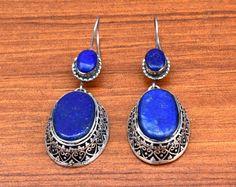 Afghan Kuchi Earring,Blue Lapis Stone Dangle,Carved Ethnic Earring,Boho Jewelry,Hippie,Gypsy Earring,Belly Dance Earring,Boho Tribal Earring