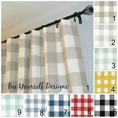 Pair of Curtain Panels Buffalo Check Gingham,Premier Prints Anderson - 25 or 50 wide - You choose color and length Gingham Curtains, Cafe Curtains, Lined Curtains, Kitchen Curtains, Gingham Fabric, Bedroom Curtains, Buffalo Check Curtains, Farmhouse Curtains, Pink