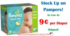HOT PAMPERS DEALS! As low as $0.09 per diaper shipped for Pampers Baby Dry! Stock up! GO NOW for CHEAP DIAPERS!  Click the link below to get all of the details ► http://www.thecouponingcouple.com/cheap-diapers-pampers/ #Coupons #Couponing #CouponCommunity  Visit us at http://www.thecouponingcouple.com for more great posts!