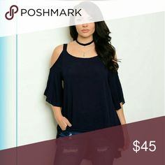 "2X HP [Plus]: Open Shoulder Tunic 100% rayon. Spaghetti straps. Color is navy. 3/4 flutter sleeve. Looks nice with a tank top underneath, if you like layers.  1X Measurement: Bust is 40"" 2X  Measurement: Bust is 44"" 3X Measurement: Bust is 48"" Boutique Tops Tunics"