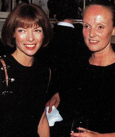 """Female style icon. Anna Wintour wearing a Gianni Versace Spring/ Summer 1994 """"safety pin"""" dress at an event with Grace Coddington."""