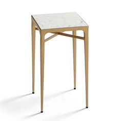Channing Tapered Leg Side Table - Brass, Brass Finish With Brown Top - Frontgate Unique Coffee Table, Wicker Sofa, Bedroom Night Stands, Living Furniture, Outdoor Furniture, Luxury Home Decor, Marble Top, Engineered Wood