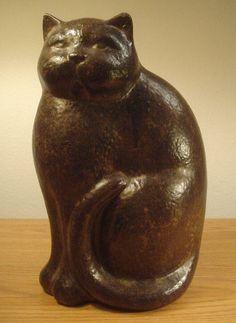 "Vintage Ceramic 12"" Cat Statue Antique Sitting Kitten Art Decor Figurine Collectible"