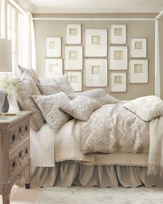 Interior Design Layer bedding and simple frames, not much of an investment for a beautiful result. Beige and White Neutral Bedroom Decor Dream Bedroom, Home Bedroom, Bedroom Ideas, Bedroom Designs, Bedroom Wall, Bedroom Inspo, Cottage Bedrooms, Wooden Bedroom, White Bedrooms