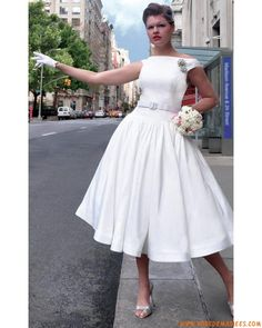 Vintage Tea Length Pleated Lace Wedding Dress with Sleeves ...
