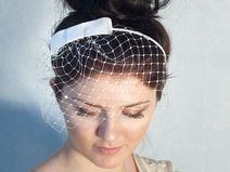 Braut Bogen Haarreif mit Birdcage Schleier