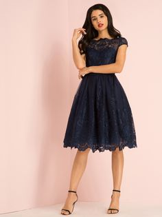 "Chi Chi  London  ""April"" Dress - Tonal NAVY    chichiclothing.com"