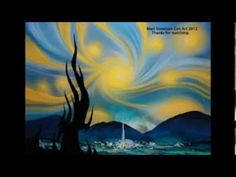 Spray Paint Art tutorial rendition, Starry Night by Vincent Van Gogh