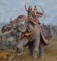 Tamerlane's Battle Elephants- Battle of Angora, 1402 (Sculptor- Polskiy Mihail & Artist- Samsonov Marina) War Elephant, Miniature Figurines, Elephant Design, Prehistoric Animals, Large Animals, Toy Soldiers, Art Model, Military Art, Ancient History