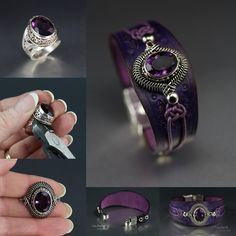 Amethyst centerpiece from an old ring with hand woven bezel and hand made leather bracelet to fit it. -Lisa Barth